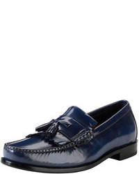 Navy Leather Tassel Loafers