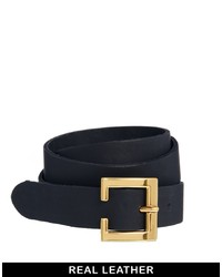 Navy Leather Waist Belt