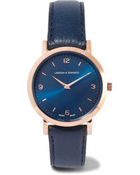 Larsson & Jennings Lugano Leather And Rose Gold Plated Watch Midnight Blue