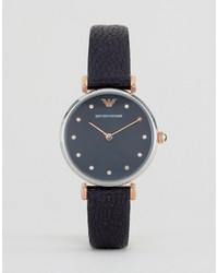 Emporio Armani Navy Leather Retro Watch Ar1989