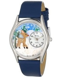 Whimsical Watches S1220002 Christmas Reindeer Royal Blue Leather Watch