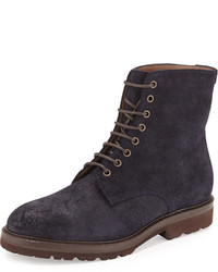 Navy Leather Work Boots