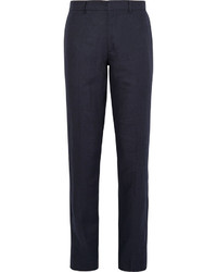 Navy Linen Dress Pants