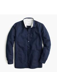 Navy Linen Long Sleeve Shirt