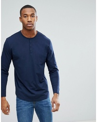 ASOS DESIGN Relaxed Fit Grandad T Shirt With Long Sleeves In Navy