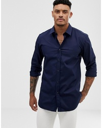 Hugo Elisha01 Tonal Logo Extra Slim Fit Shirt In Navy