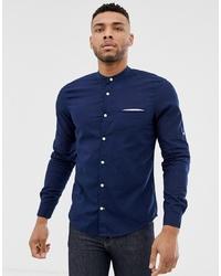 Pull&Bear Join Life Shirt With Granddad Collar Shirt In Navy