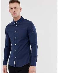 Pier One Muscle Fit Shirt In Dark Blue