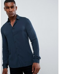 ASOS DESIGN Muscle Viscose Shirt In Navy