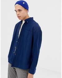 Collusion Oversized Oxford Shirt In Navy
