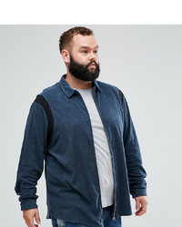 ASOS DESIGN Plus Regular Fit Zip Through Towelling Shirt In Navy