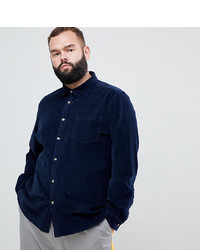ASOS DESIGN Plus Slim Fit Stretch Cord Shirt In Navy