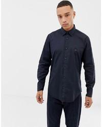 BOSS Reverse Overdyed Shirt In Navy