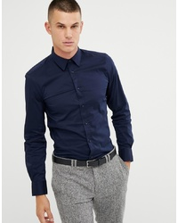 United Colors of Benetton Slim Fit Shirt With Stretch In Navy