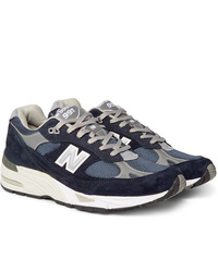 New Balance 991 Suede Mesh And Leather Sneakers