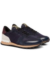 Valentino Garavani Rockrunner Mesh Leather And Suede Sneakers