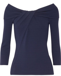 Michael Kors Michl Kors Collection Off The Shoulder Twist Front Stretch Jersey Top Navy