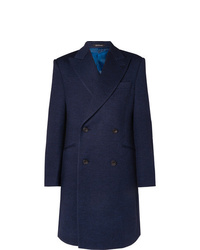 Richard James Double Breasted Mlange Wool Jersey Overcoat