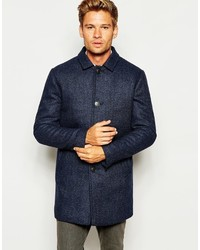 Selected Homme Herringbone Wool Mix Overcoat With Quilted Lining