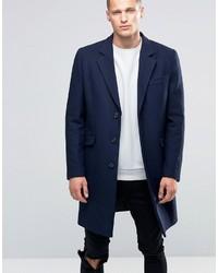 Asos Wool Mix Overcoat In Navy