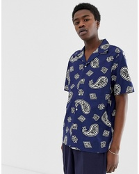 lacoste live Lacoste Lve Short Sleeve Revere Collar Printed Shirt In Navy