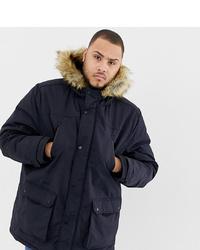 Burton Menswear Big Tall Parka Jacket In Navy