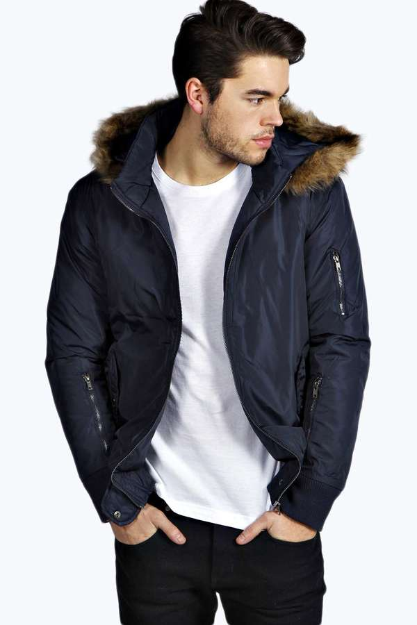 Boohoo Bomber Jacket With Faux Fur Parka Hood | Where to buy & how ...