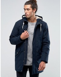Esprit Fish Tail Parka With Teddy Hood Lining In Navy