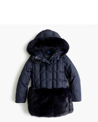 J.Crew Girls Fur Trimmed Puffer Coat