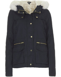 Topshop Faux Fur Lined Short Parka Jacket
