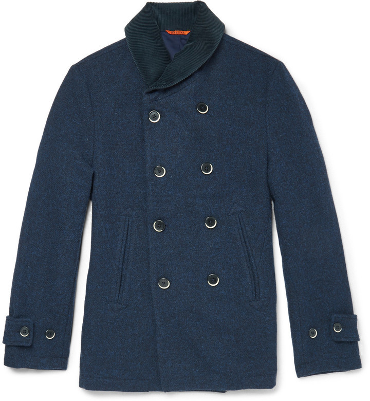 Barena Corduroy Trimmed Wool Peacoat | Where to buy & how to wear