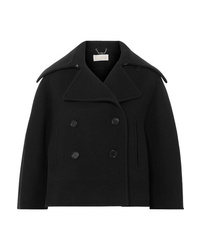 Chloé Cropped Double Breasted Wool Blend Felt Coat