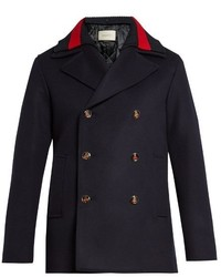 Gucci Detachable Web Collar Wool Pea Coat