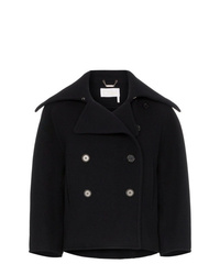 Chloé Double Breasted Cropped Wool Peacoat