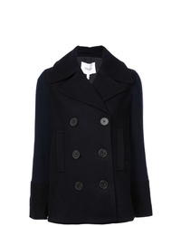 Derek Lam 10 Crosby Double Breasted Pea Coat With Knit Sleeves