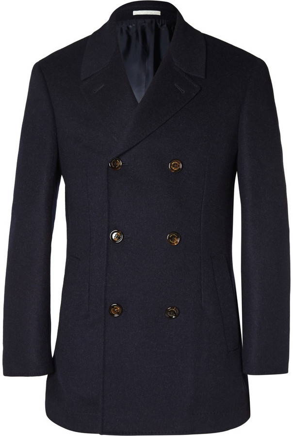 Brunello Cucinelli Double Faced Wool And Cashmere Blend Peacoat ...