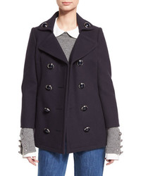 Michael Kors Michl Kors Double Breasted Wool Pea Coat Navy