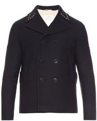 Rockstud trim wool pea coat medium 961757