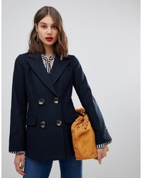 Warehouse Short Double Breasted Coat In Navy