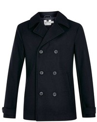 Topman Slim Fit Navy Double Breasted Peacoat | Where to buy & how ...