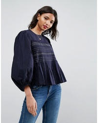 ASOS DESIGN Pleat Detail Long Sleeve Top With Contrast Stitching