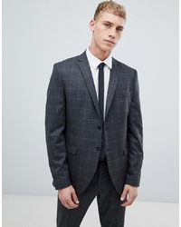 Selected Homme Grey Suit Jacket With Grid Slim Fit