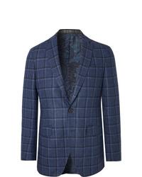 Etro Navy Slim Fit Checked Wool And Silk Blend Blazer