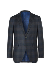 Etro Navy Slim Fit Checked Wool Suit Jacket