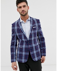 ASOS DESIGN Skinny Linen Blazer In Blue With Check