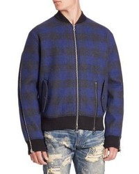 Navy Plaid Bomber Jacket