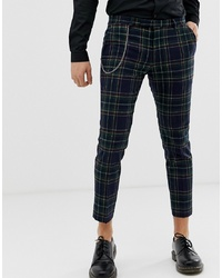 Twisted Tailor Tapered Trouser In Tartan With Chain