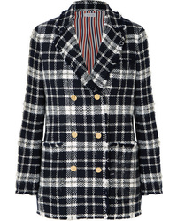 Navy Plaid Double Breasted Blazer