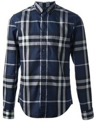 Navy Plaid Dress Shirt