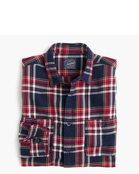 J.Crew Tall Midweight Flannel Shirt In Navy Plaid